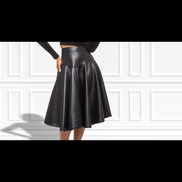8168a97c73 Gracia Skirts | Quilted Faux Leather Skirt | Poshmark